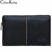 Celinv Koilm Bolso de mano de cuero virgen para hombre, cartera bolso de mano de gran capacidad