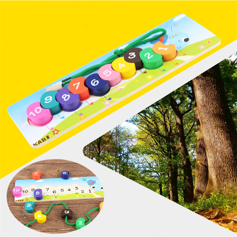 Hot Kids Wooden Toy Puzzle Rainbow Caterpillar Beads Numbers Early Education Toy