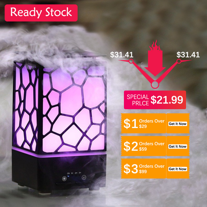 200ML Lamp Air Humidifier 7 Colorful Night Light Aroma Essential Oil Diffuser Auto Shut Off Ultrasonic Air Humidifier