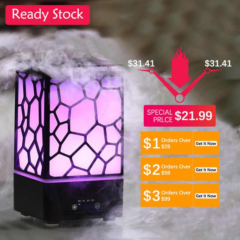 200ML lamba hava nemlendirici 7 renkli gece lambası aromalı uçucu yağ difüzörü otomatik kapanma ultrasonik hava nemlendirici