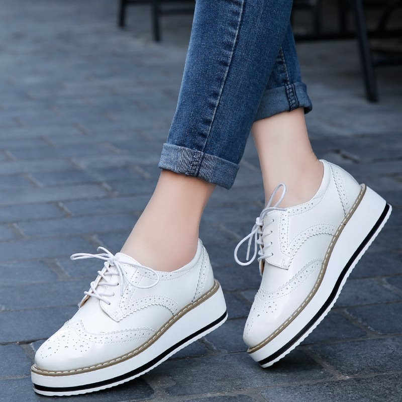 Brogues Chunky Sneakers Woman Platform Genuine Leather Shoes Women Round Toe Shoes Thick Sole Oxford Shoes for Women Sapatilha