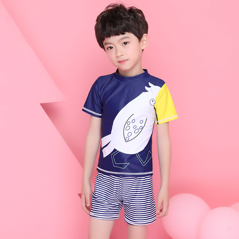 2018 New Style Hot Sales Split Type Two-Piece Cartoon Pattern Send Swimming Cap Crew Neck Boxers BOY'S KID'S Swimwear