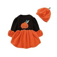 купить Baby Girls Clothes Set for Halloween Pumpkin Print Costumes Dress Hat Kids Casual Long Sleeve Tutu Sundress Set #p дешево