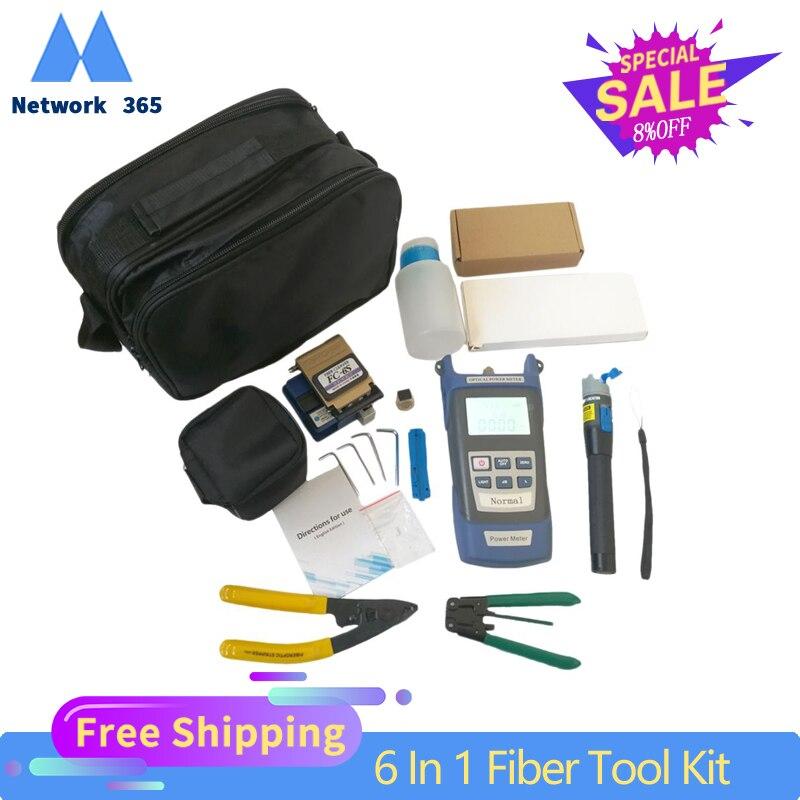 6 In 1 Fiber Optic FTTH Tool Kit Optical Fiber Fiber Cleaver FC-6S Miller's Plier Stripper Optical Power Meter 1mW VFL 1mW 5KM