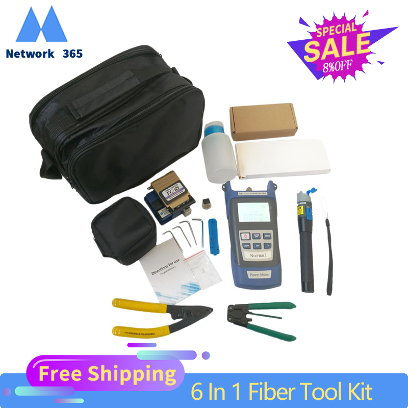 6 In 1 Fiber Optic FTTH Tool Kit Optical Fiber Fiber Cleaver FC-6S Miller's Plier Stripper Optical Power Meter 1mW VFL 1mW 5KM