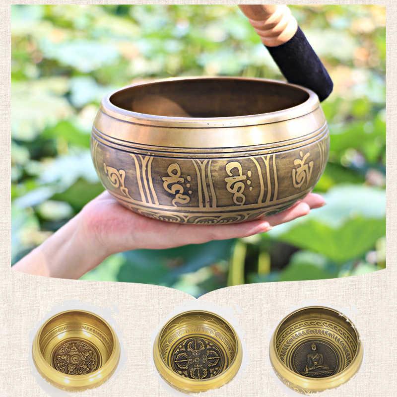 Тибетская поющая чаша, тибетский буддизм, латунь, Йога, Поющая чаша, медитация, настенные блюда, украшение дома, медитация непальской чакры
