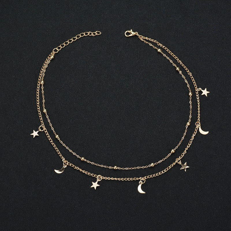 JCYMONG New 38+5cm Gold Silver Color Beads Chain Choker Necklace For Women Fashion Star Moon Pendant Necklace 2020 Jewelry Gift