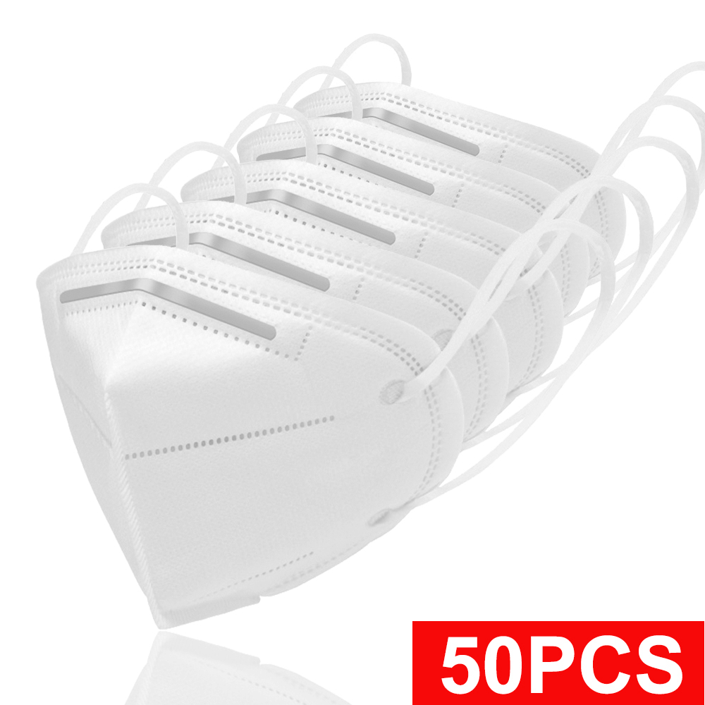 50pcs 4D White NK95 Disposable Mask Mouth Face Masks Non Woven 5 Layers Mask Activated Anti Dust Air Pollution PM2.5 Filter>=95%