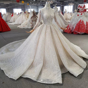 Image 3 - HTL272 Sparkly Wedding Dress 2020 With Popular Metallic Line High Neck Appliques Handmade Beading Ball Gown
