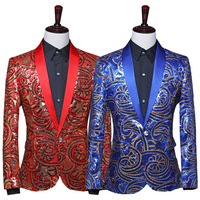 Men Green Fruit Collar Stage Performance Suit Coat Fancy Sequins Singer Stage Long Sleeve Annual Meeting Performance Clothing