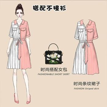 COIGARSAM 4XL Plus Size Chiffon Women dress New Summer Short Sleeve Dresses Red 8004 3