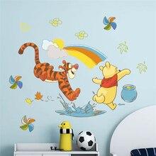 disney winnie pooh wall decals bedroom kids rooms home decor cartoon animals pvc mural art diy posters