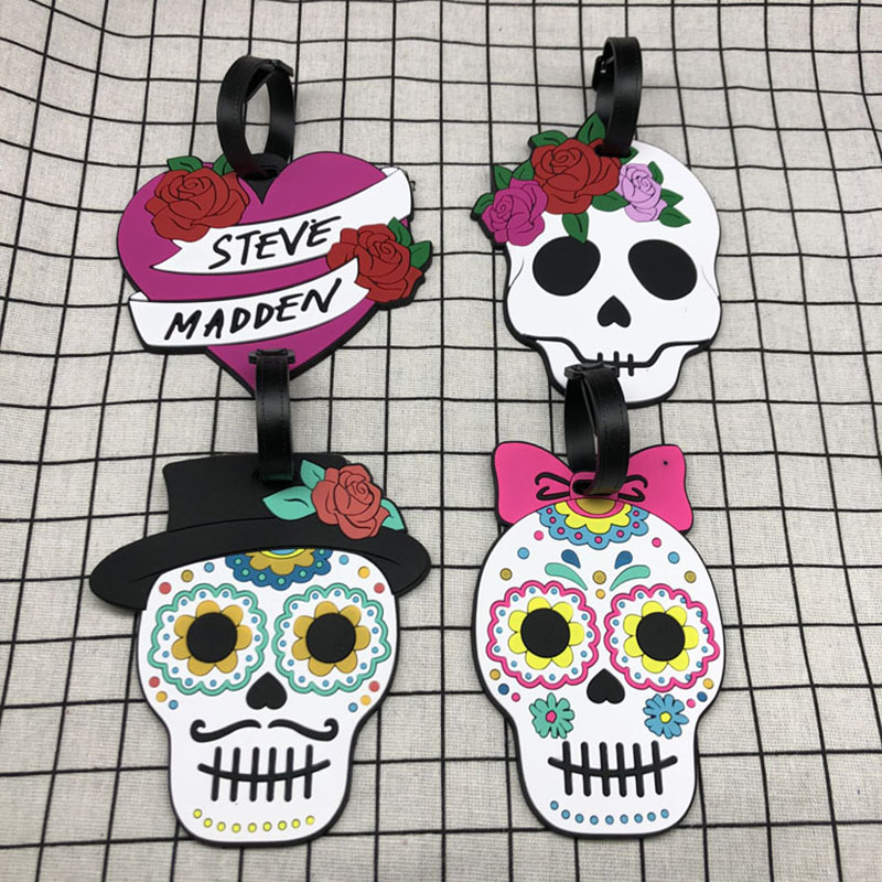 New Creative Skull Luggage Tag Silica Gel Suitcase ID Address Holder Baggage Boarding Tags Portable Label Travel Accessories