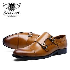 Image 2 - DESAI رجل جلد أصلي للرجال عارضة اليدوية مخصص نمط اللباس الحذاء صنع في الصين 2019