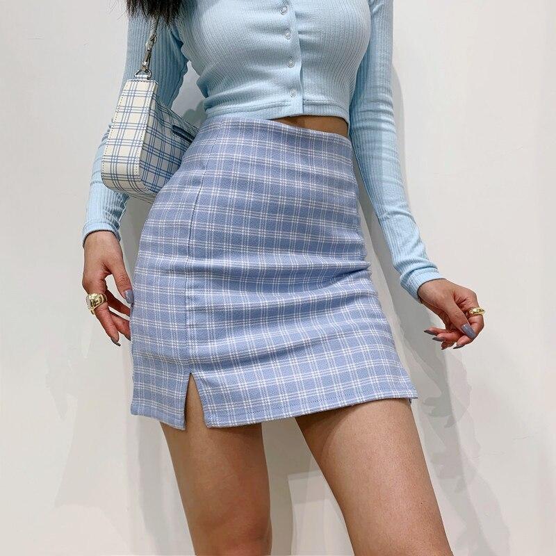 Women Split Details Plaid Mini Skirt With Under Shorts Mini Skort In Blue
