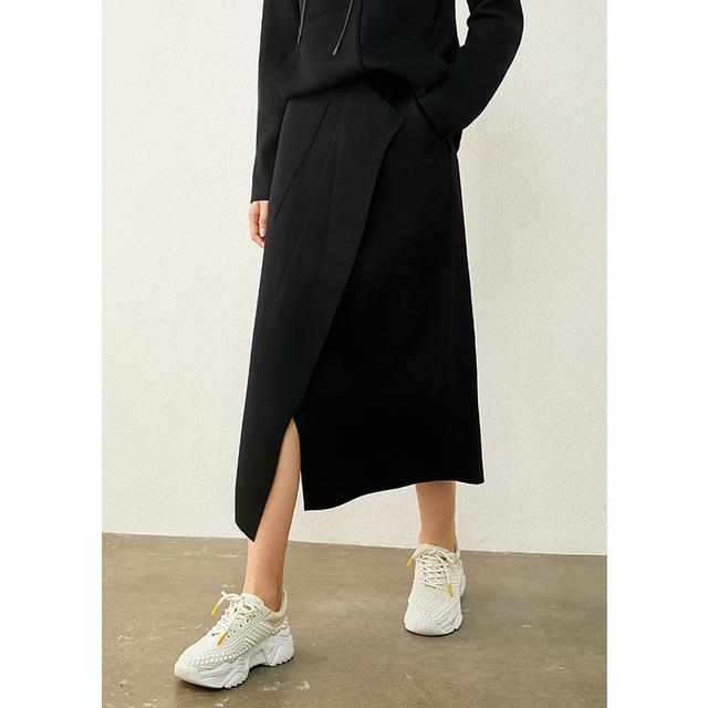AMII Minimalism Autumn Causal Women Hoodies Set Solid Hooded Loose Sweater Hoodies Solid Irregular Hem Female Skirt 12020233 5
