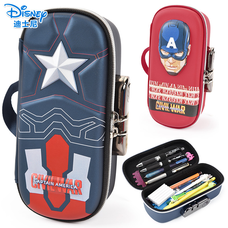 Image 2 - Disney stationery password lock pen case Captain America iron Man school supplies Student boy gift-in Pencil Bags from Office & School Supplies
