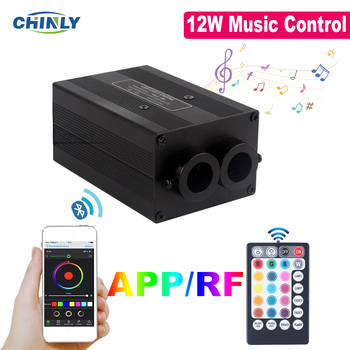 NEW Bluetooth APP Control Fiber Optic Light Engine Twinkle Effect 12W Musical Jump Ceiling Star Light Device 16w light engine 0 75 1 1 5mm fiber optic star ceiling light for andre baccili benevides