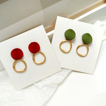 Women and colorful  geometric circular earrings Contracted exquisite jewelry female fashionable wearing birthday party