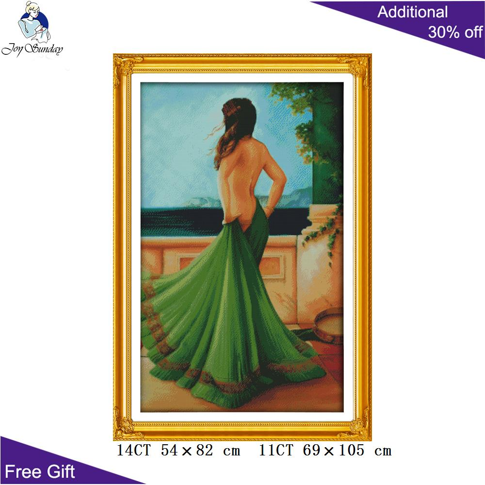 Joy Sunday Green Dress Beauty Home Decor R550 14CT 11CT Counted And Stamped The Lady In Green Dress Embroidery Cross Stitch Kits
