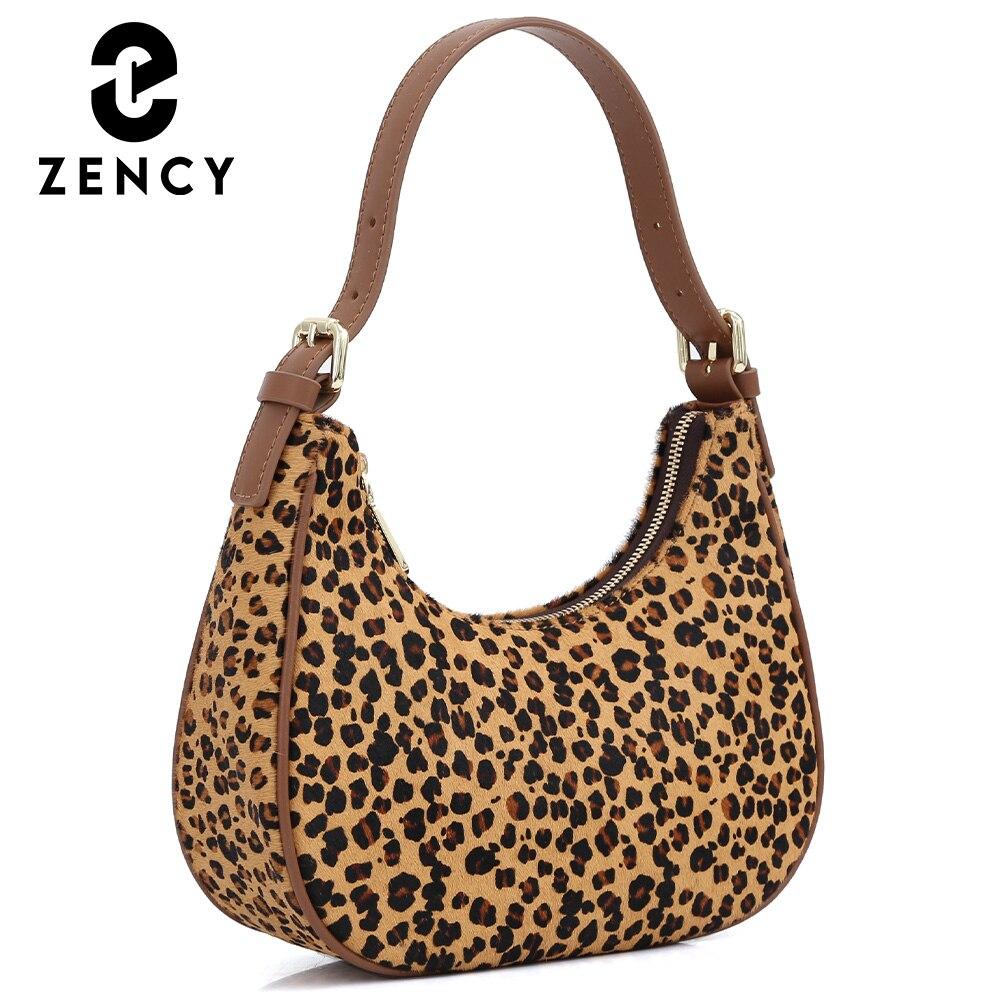 Zency Soft Genuine Leather Ladies Handbag 2021 Women Trend Leopard Luxury Style Female Shoulder Bag High Quality Crossbody Purse