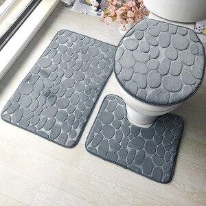 Image 2 - Zestaw dywaników do łazienki 3D tłoczone podłoga w łazience dywan flanelowe mata toaletowa z pokrywa 3 sztuka/zestaw antypoślizgowe w kształcie litery U zestaw mat do kąpieli