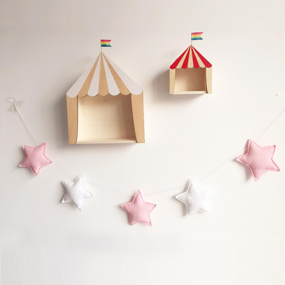 Nordic Felt Fabric String Star Garland Party Banner Kids Room Hanging Wall Decor Tent Bed Mat Baby Shower Bunting Ornament light grey