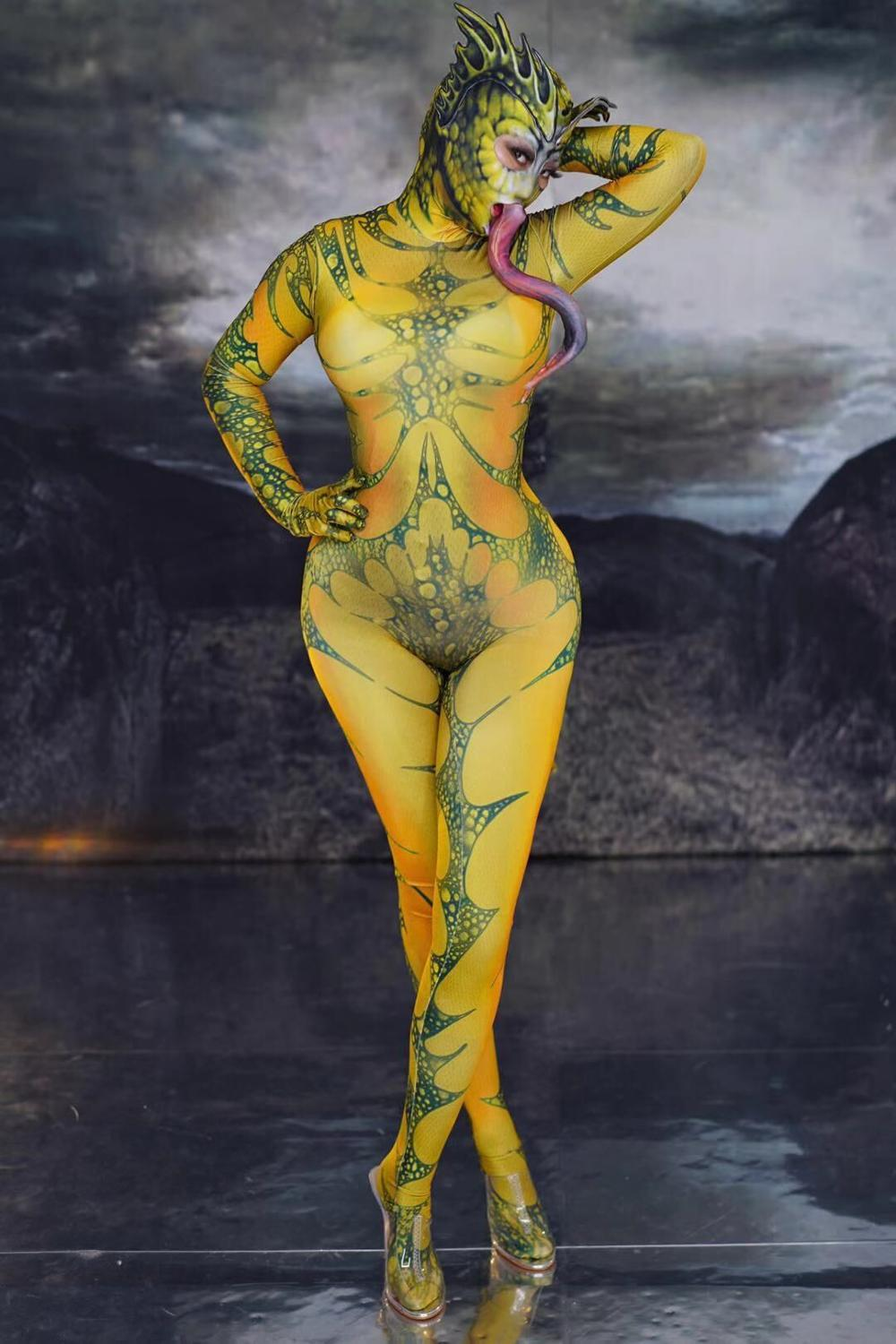 Lizard Animal Pattern Jumpsuit Women Singer Show Clothes Dancer Outfit Stage Prom Women Cosplay Stretch Outfit
