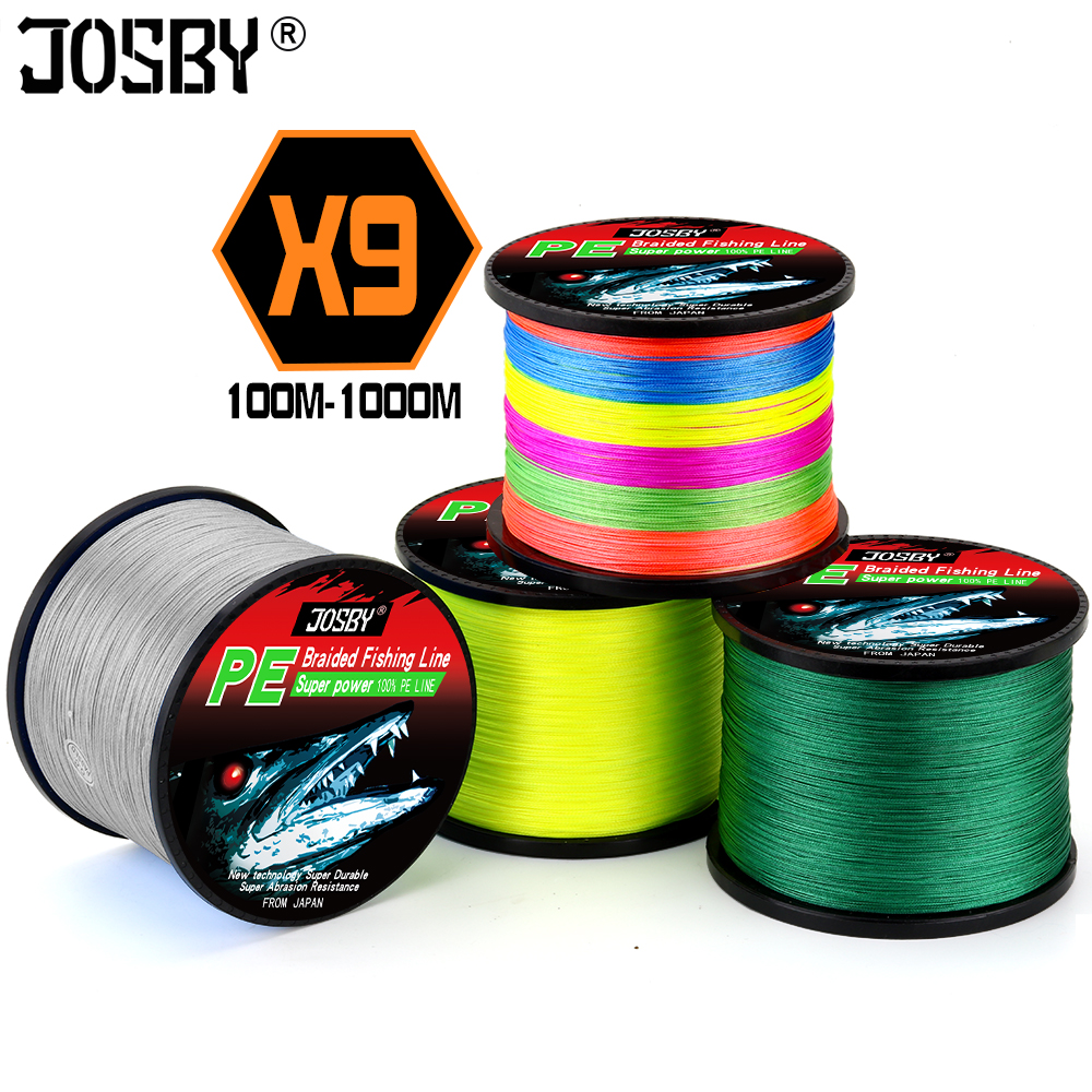 JOSBY 2019 NEW Fly  Multifilamento Fishing Line Pesca 9 Strand PE Carp Braided Wire Sea Spinning 22~135LB 1000M 500M 300M 100M