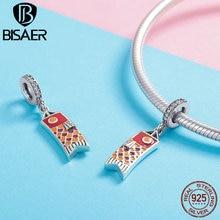 BISAER 925 Sterling Silver Original Design Japanese Carp Streamer Koinobori Pendant Charm for Women Charms Bracelet Gift GXC1085
