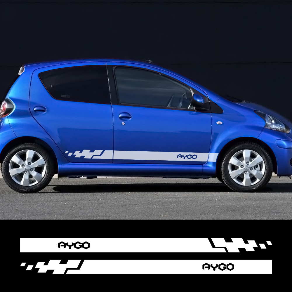 Both Side Car Stickers Auto Vinyl Wrap Racing Stripes Decals Automobiles For Toyota Aygo Car DIY Styling Tuning Car Accessories