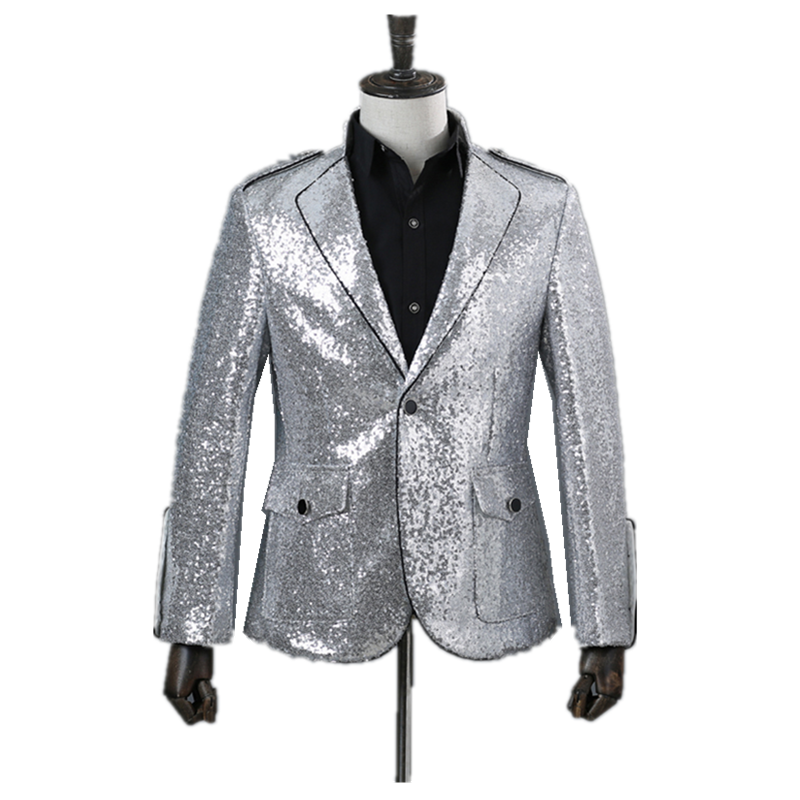 Fashion Men's Suit Business Wear Party Banquet Ball Costume Coat Silver Sequins One Button Inlay Black Sideline Slim Casual Suit