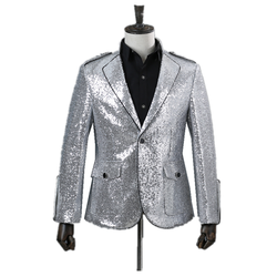 Fashion Mens Suit Business Wear Party Banquet Ball Costume Coat Silver Sequins One Button Inlay Black Sideline Slim Casual Suit