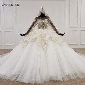 Image 1 - Свадебное платье HTL1180, арабские Свадебные платья es, Дубай, длинные рукава, кружевные аппликации, блестки, иллюзия, маленькая спина, свадебное платье