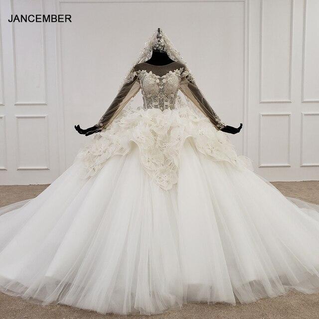 Свадебное платье HTL1180, арабские Свадебные платья es, Дубай, длинные рукава, кружевные аппликации, блестки, иллюзия, маленькая спина, свадебное платье