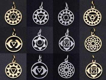 5 sztuk partia 7 Chakra joga biżuteria ze stali nierdzewnej wisiorek DIY Charms hurtownie OEM zamówienie akceptowane wysoki połysk tanie i dobre opinie LAVIXMIA CN (pochodzenie) STAINLESS STEEL Religijne moda JN403 Metal Klasyczny