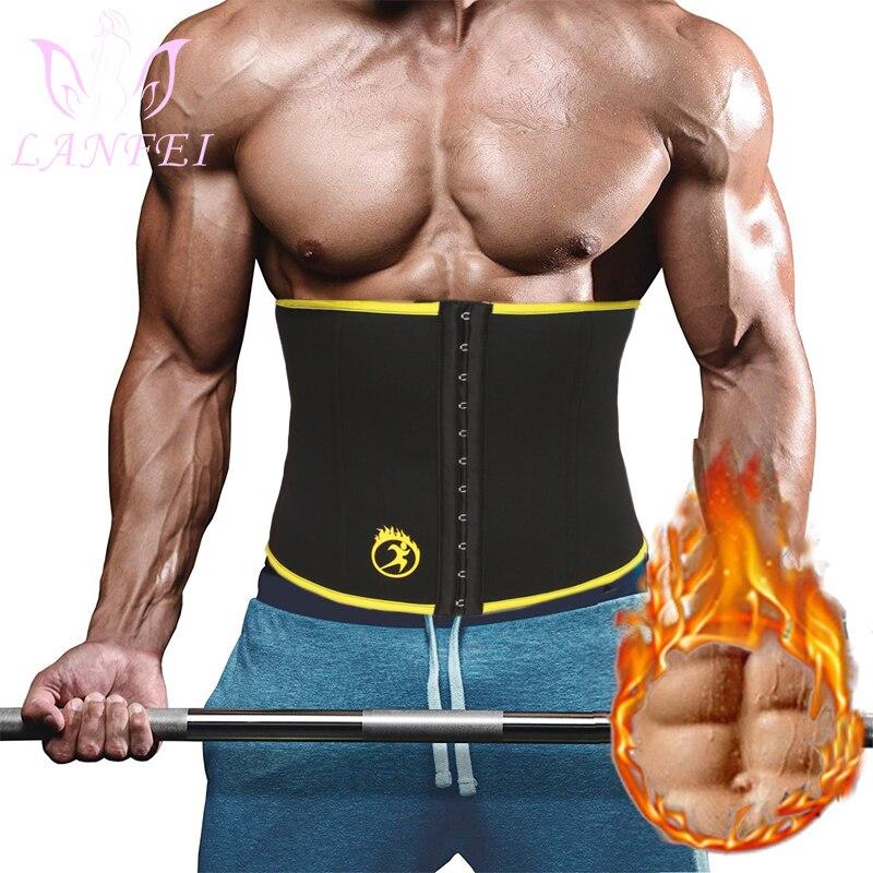 LANFEI Waist Trainer Belt For Men Sauna Slimming Body Shaper Modeling Strap Neoprene Workout Fitness Corset For Fat Burning