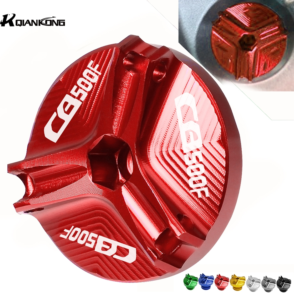 Motorcycle CNC Aluminum Engine Oil Filter Cup Plug Cover screws For Honda <font><b>CB500F</b></font> CB 500F 2013 2014 2015 2016 2017 <font><b>2018</b></font> 2019 image