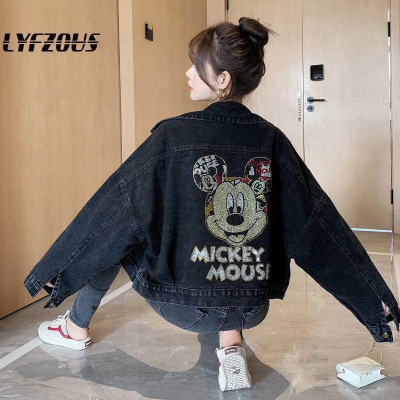 LYFZOUS Plus Size Jeans Jacket Women Outerwear Cartoon Print Bomber Denim Coat Rhinestone Bf Loose Streetwear Harajuku Jackets