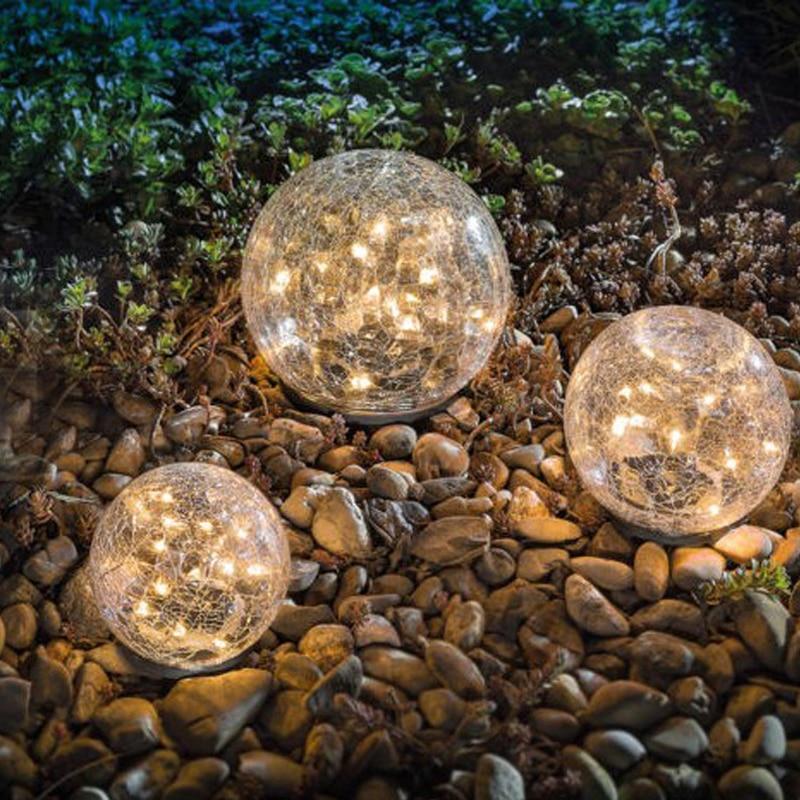 Cracked Glass Ball LED Solar Light Solar Power Garden Light Outdoor Waterproof Ground Lamp Buried Light For Path Yard Lawn