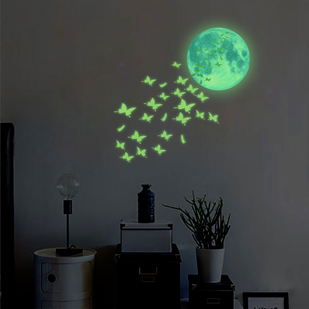 Luminous Moon Butterfly 3D Wall Sticker Bedroom Living Kids Room Home Decoration Decals Glow In The Dark Combination Stickers