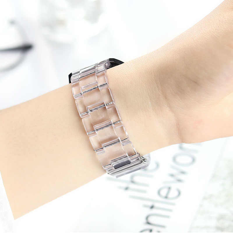 Transparent Fitbit Resin Watch Band For Fitbit Versa 2 Wrist Strap Fasion For Fitbit Versa Rainbow Band Replacement Bracelet