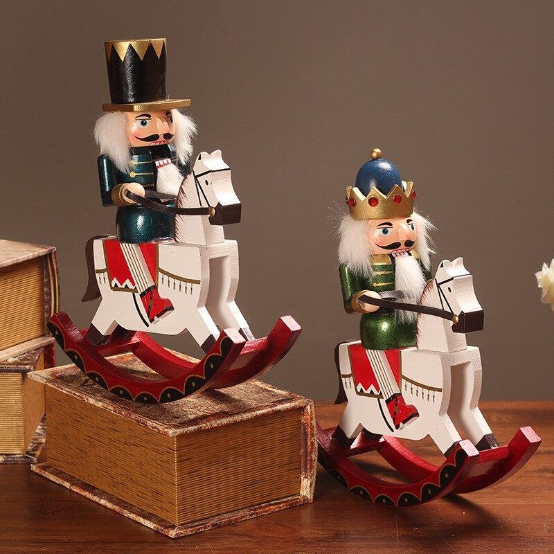 High30cm européen décoration de la maison casse-noisette marionnette cheval à bascule casse-noisette décoration de bureau décor à la maison cadeau de noël