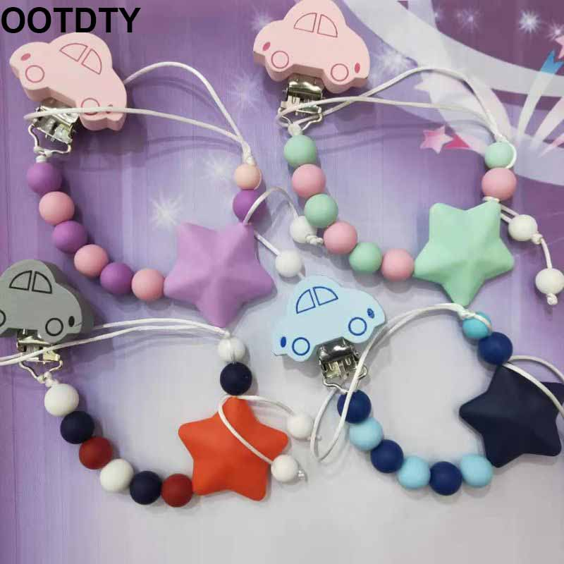 Newborn Silicone Pacifier Chain Cartoon Car Beaded Infants Nipple Clip Anti-out Chains Baby Teether Accessories