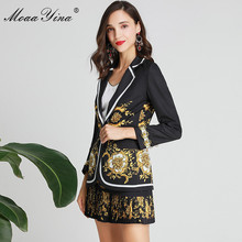 MoaaYina Fashion Designer Set Spring Women Long sleeve  Floral-Print Black Elegant Suit Top+Pleated Short skirt Two-piece suit