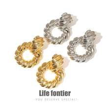 Lifefontier золото Цвет металлические серьги в виде капель с