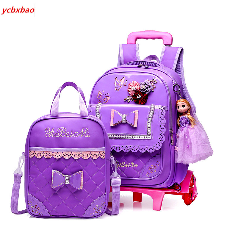 Fashion 2PCS Sets Girls Trolley Rolling  Cartoon School Bags With 2/6 Wheels  Backpack Climb The Stairs School Travel Luggage