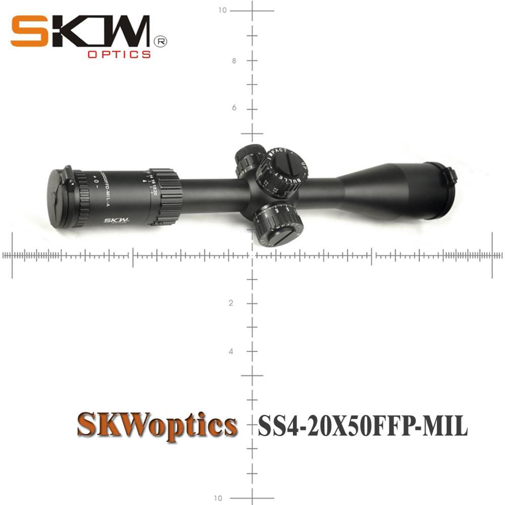 SKWoptics 4-20x50FFP-MIL-A First Focal Plane Ffp Rifle Scope Rings  Hunting Reticle Heavy Duty Riflescope Long-range Scope