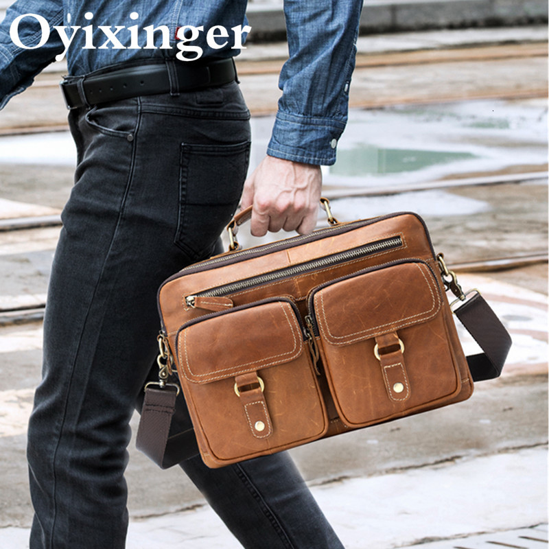 Men Briefcase Bag Men's Genuine Leather Office Bags For Man 13