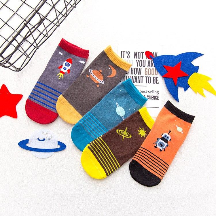Autumn & Winter New Style CHILDREN'S Socks Relent Cartoon Stripes Space Tour Men And Women Child Tube Cotton Socks